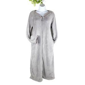 Oscar de la Renta Gray Soft Plush Duster Robe Zip